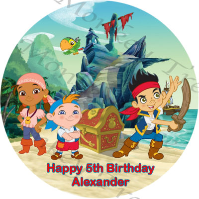 jake neverland pirate edible cake image birthday party cake