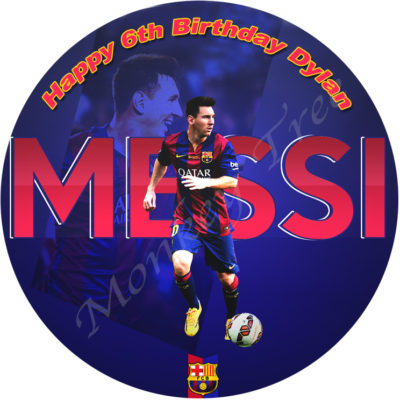 messi fc barcelona football soccer edible image fondant cake