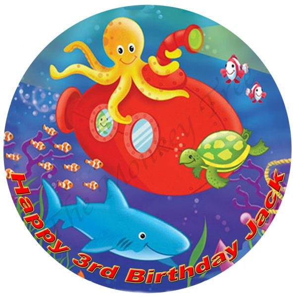 Under the Sea Personalised Edible Cake Image The Monkey Tree
