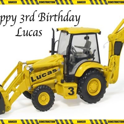 digger construction edible cake image