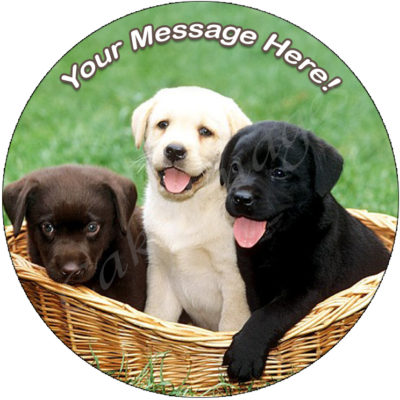 puppies labrador basket edible image fondant cake