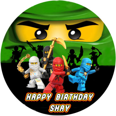 lego ninjago green circle edible image party