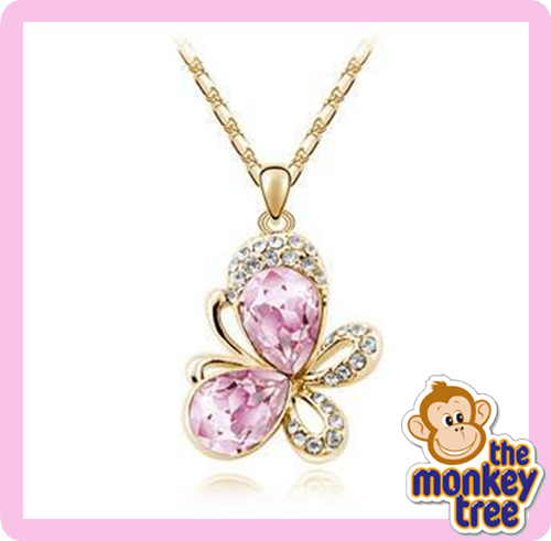 pendant butterfly necklace pink
