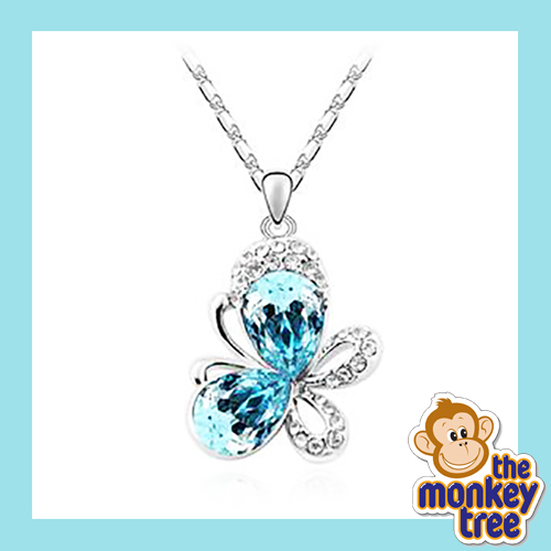 pendant butterfly necklace pink crystal