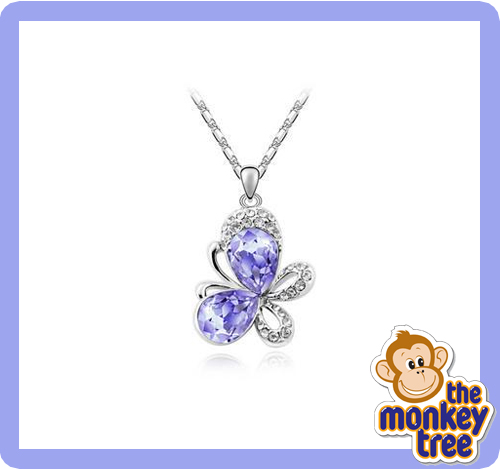 pendant butterfly necklace pink lilac crystal
