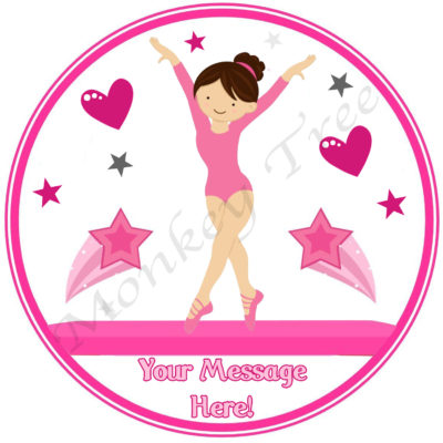 gymnastics gym ballet pink edible cake image topper birthday