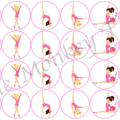 gymnastics gym pink cupcake birthday topper