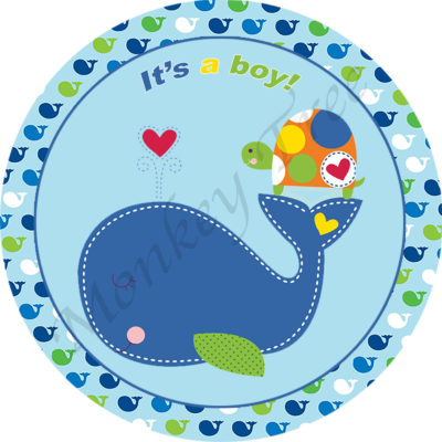 baby shower party birthday whale 1st cake edible topper