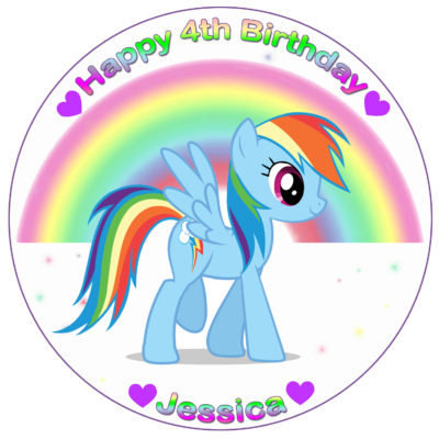 My little pony equestria girls edible cake image topper fondant birthday unicorn rainbow dash