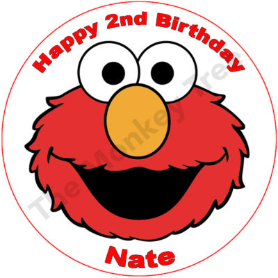 Elmo face edible cupcake topper birthday party cake image fondant