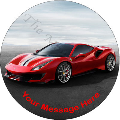 Ferrari 488 pista car edible icing image cake topper birthday fast car
