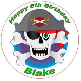 pirate ship edible cake image cupcake birthday party skull