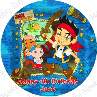 Jake Neverland Pirates Birthday party edible cake image topper