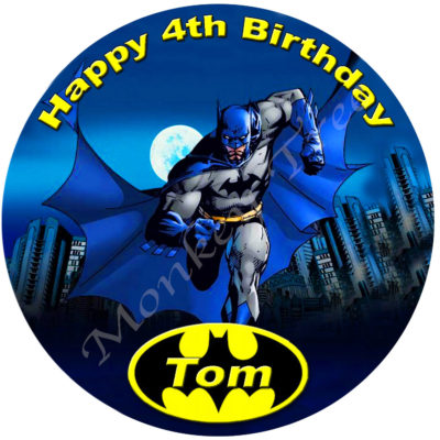 Batman Edible Cake Image Topper Birthday Party