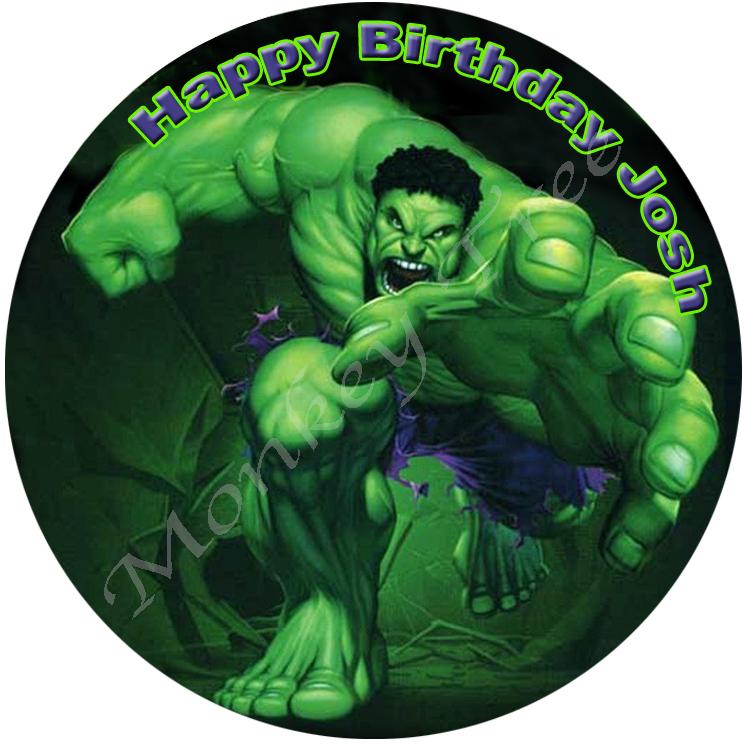 Hulk Superhero Edible Cake Image Topper birthday party cupcake