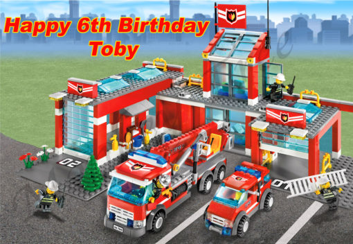 lego city edible cake image birthday party