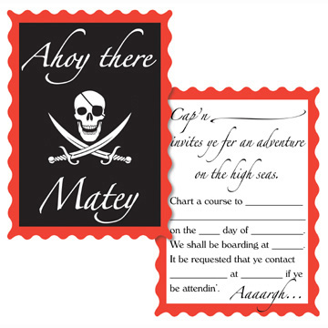 Pirate Party Invite Invitation Birthday