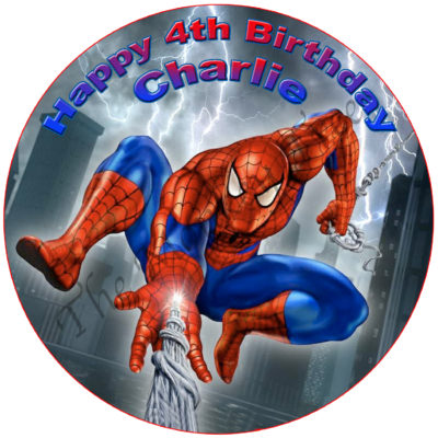 spiderman edible cake fondant icing image party superhero