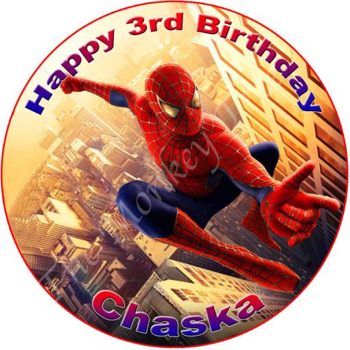 Spiderman Superhero Edible Cake Image Topper birthday party cupcake
