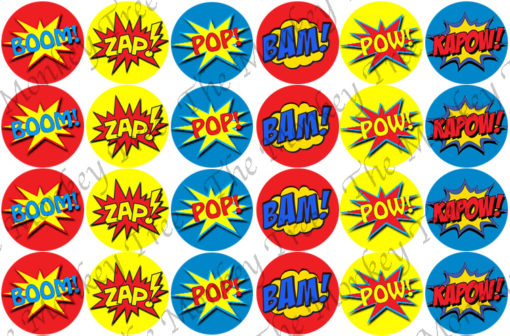 Superhero words Edible Cake Image Topper birthday party cupcake