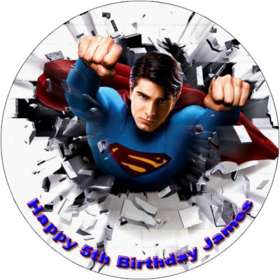 Superman Superhero Edible Cake Image Topper birthday party cupcake