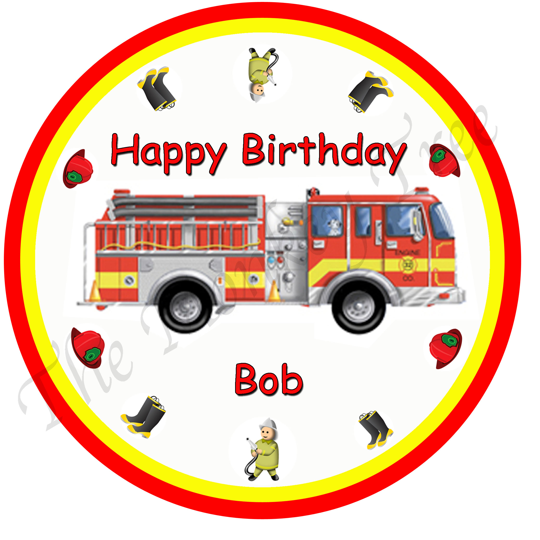 fire engine sam edible cake image fondant