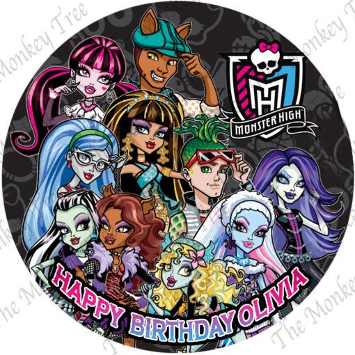 monster high music disco edible image fondant cake