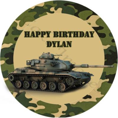 army tank edible cake image fondant cupcake