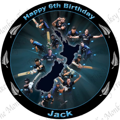 black caps cricket edible cake image fondant