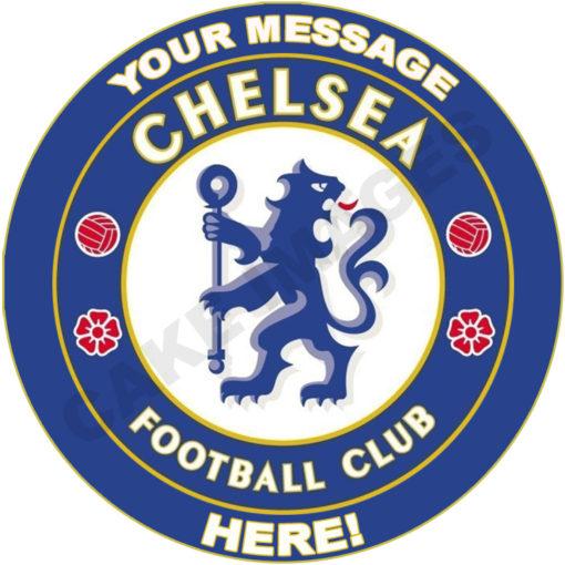 chelsea fc football soccer logo edible cake image fondant