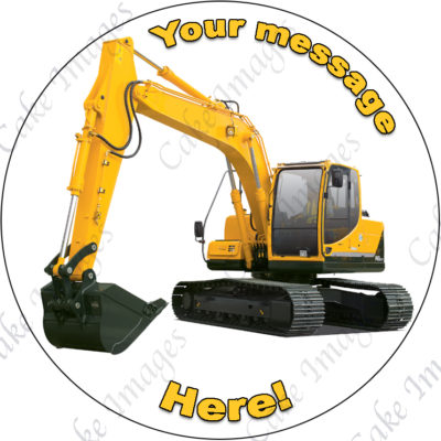 excavator digger edible cake image fondant construction