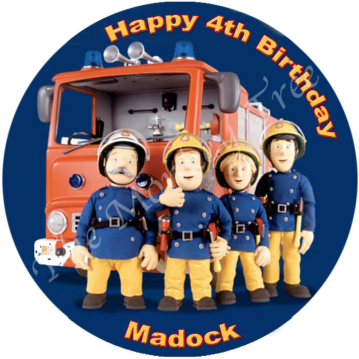 fireman sam edible cake image fondant