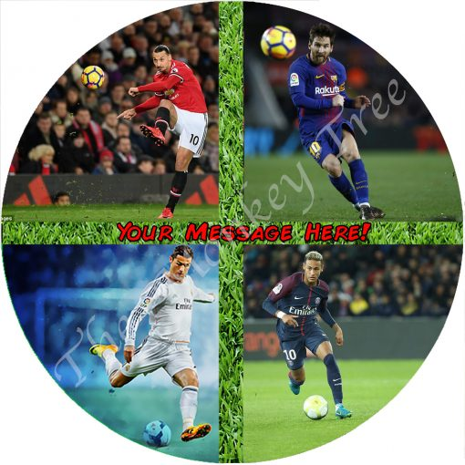 messi football fc barcelona edible cake image fondant soccer
