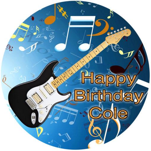 electric guitar music disco edible cake image fondant