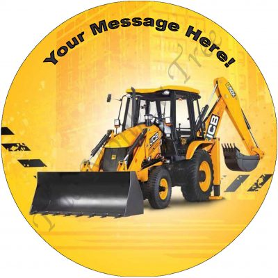 construction digger edible image cake jcb back hoe loader