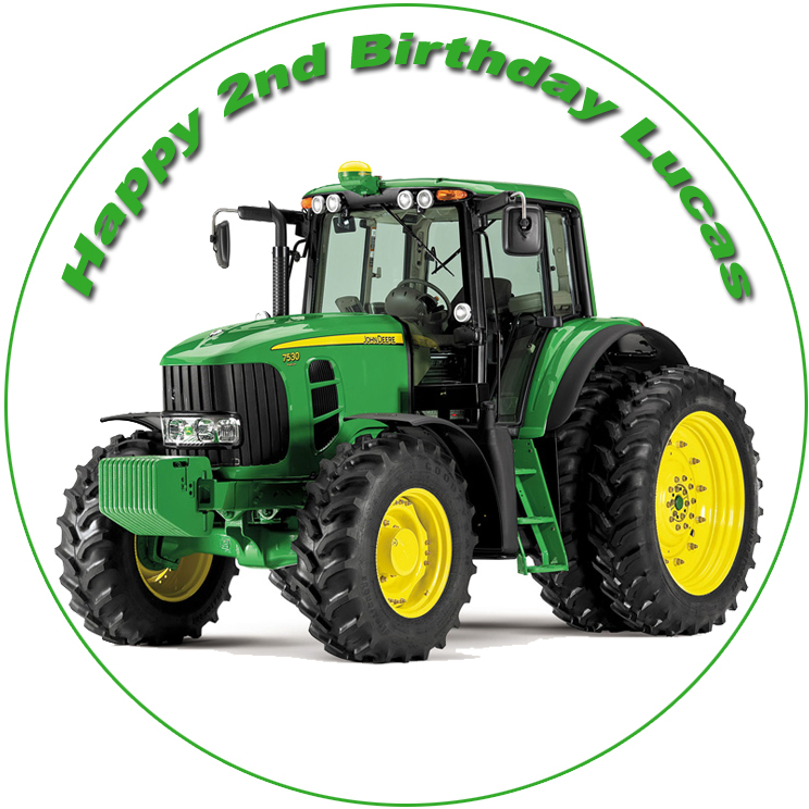 John Deere Tractor Personalised Edible Cake Image The