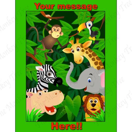 jungle edible image fondant cake tiger lion giraffe