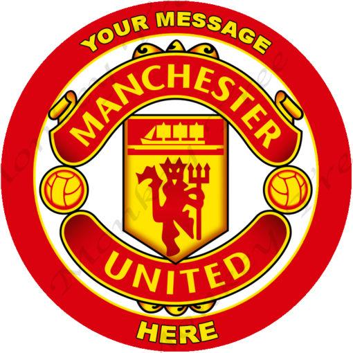 manchester united football soccer logo edible image fondant cake