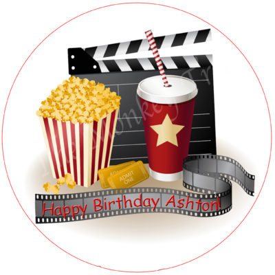 movie party popcorn edible image fondant cake