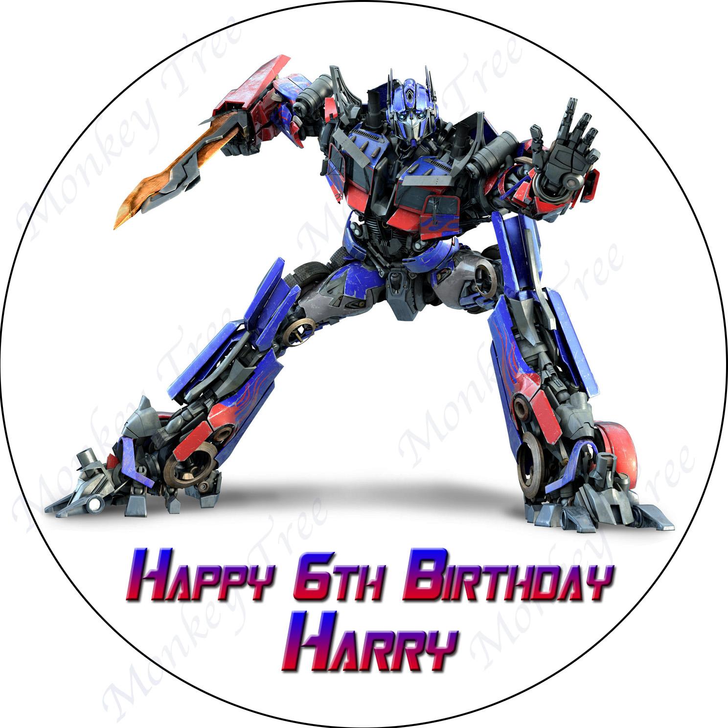 Transformers Optimus Prime Personalised Edible Cake Image