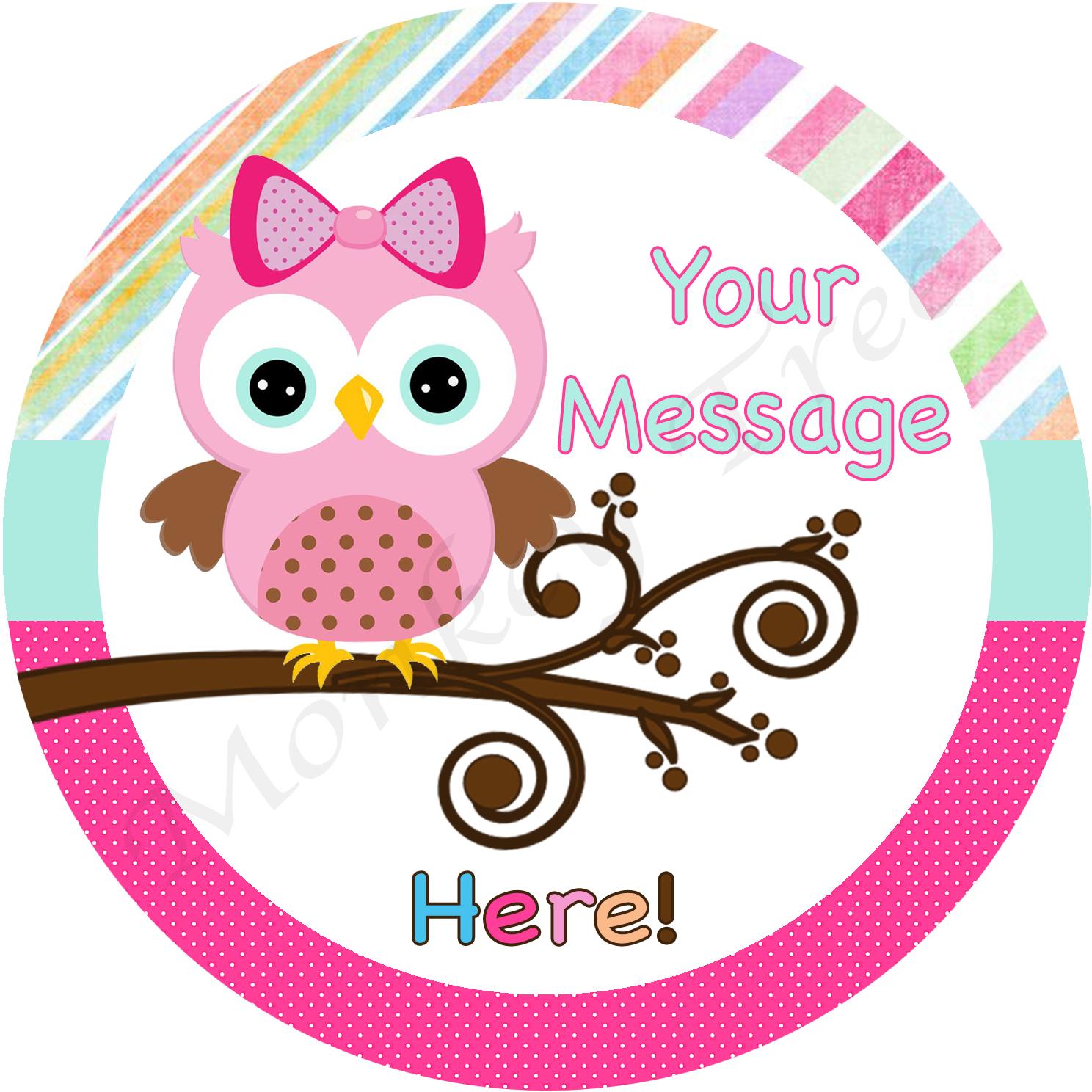 Edible Cake Image Owl : Pink Owl Personalised Edible Cake Image The Monkey Tree