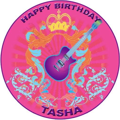 edible image fondant cake pink electric guitar music disco