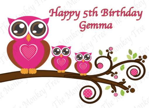 pink owl edible image fondant cake