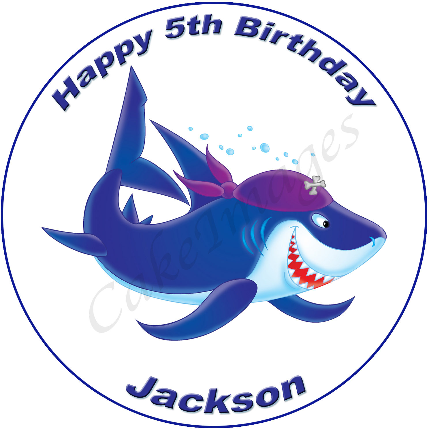 pirate shark edible image fondant cake