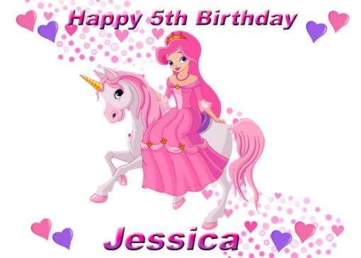 edible image fondant cake princess unicorn hearts magic