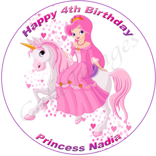 edible image fondant cake princess unicorn magic rainbow stars