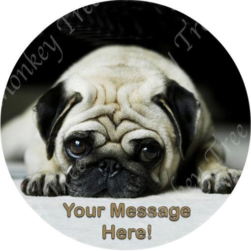 edible image fondant cake pug dog puppy