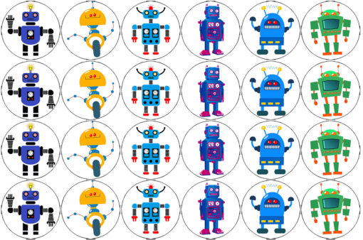 robots edible cake image fondant cupcake