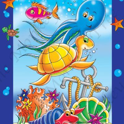 edible image fondant cake under the sea turtle mermaid water