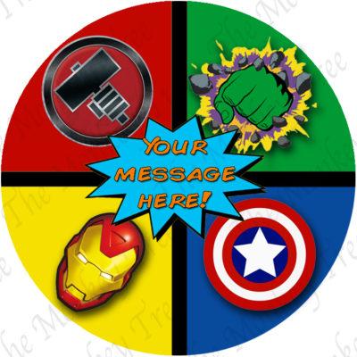 edible image fondant cake superhero logo ironman thor hulk captain america